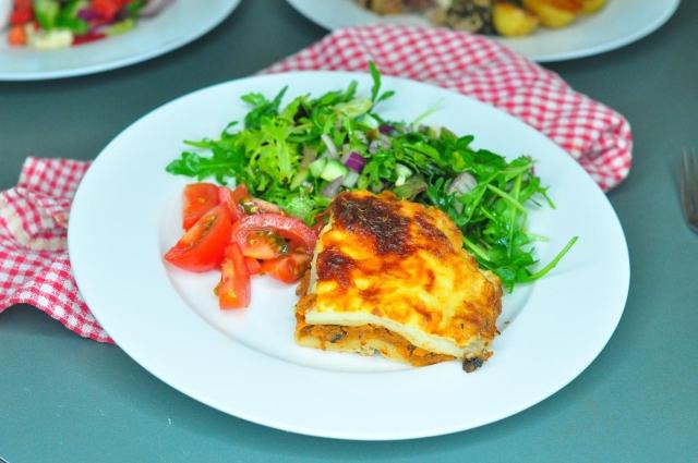 Gluten free Vegetable Lasagne with salad