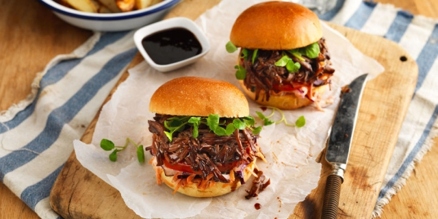 slow cooked sticky beef brisket with slaw & buns
